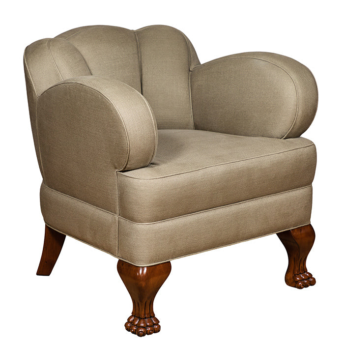 Bear Claw Chair with Linen Upholstery