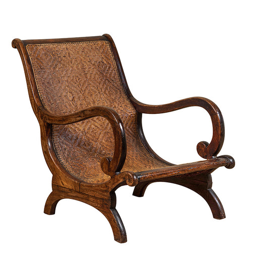 Antique Lounge Chair with Rattan Caning.