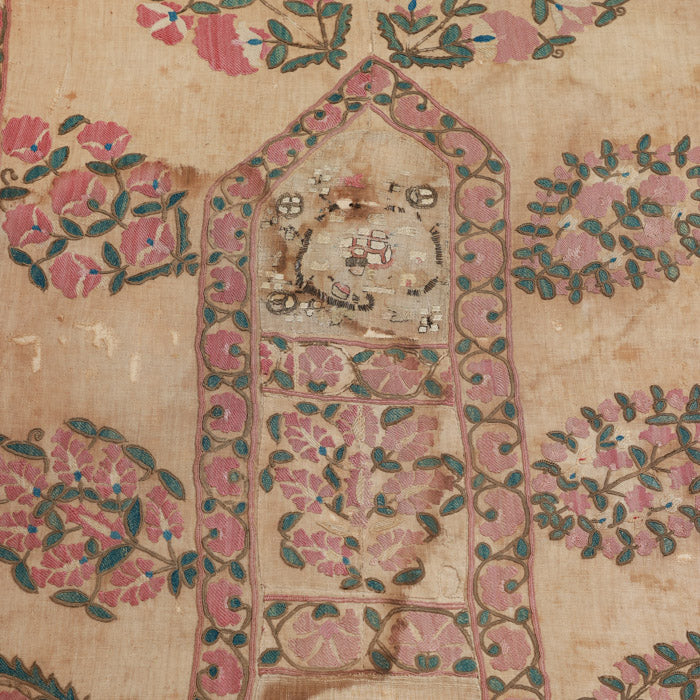 Antique Uzbek Suzani on Stretcher