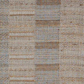 Throw<br />Panel Stripe Cream Blue<br />Wool & Raw Silk