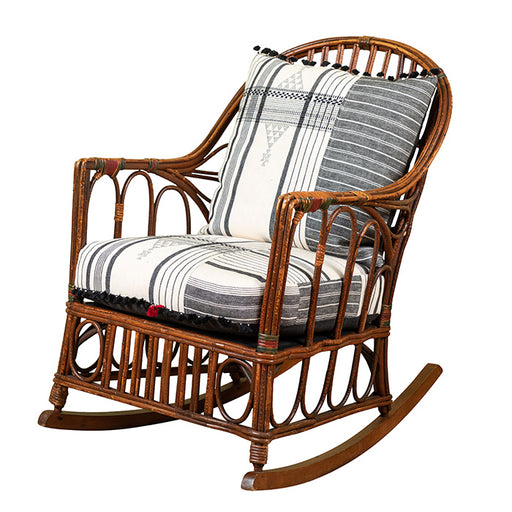 1920s Bent Wood Rocking Chair With Injiri Upholstery