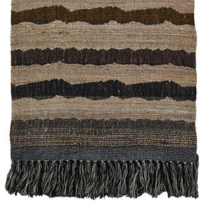 Throw<br />Ocean Stripe Charcoal<br />Wool & Raw Silk