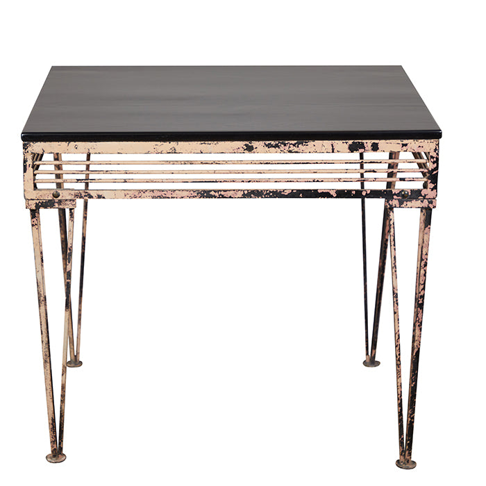 Iron Table With Black Wood Top