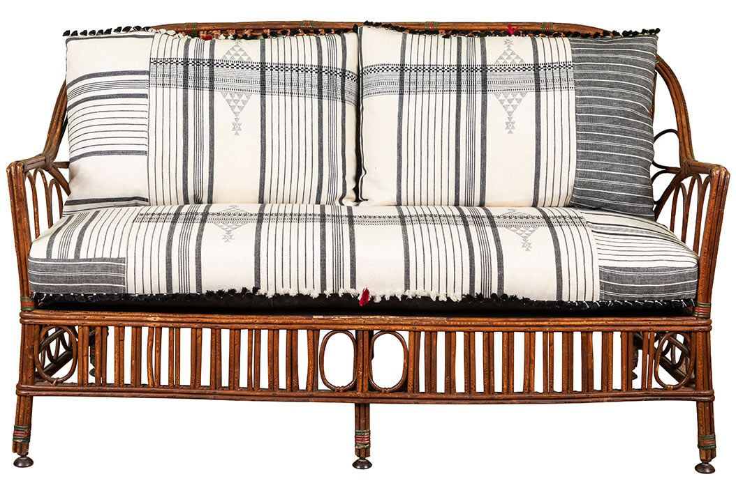 1920s Bent Wood Loveseat Settee With Injiri Upholstery