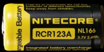 Nitecore® NL166 Battery - Rechargeable C123A 650 mAh Protected Button Top