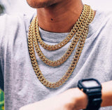 14k Gold/Silver Iced Cuban Chain