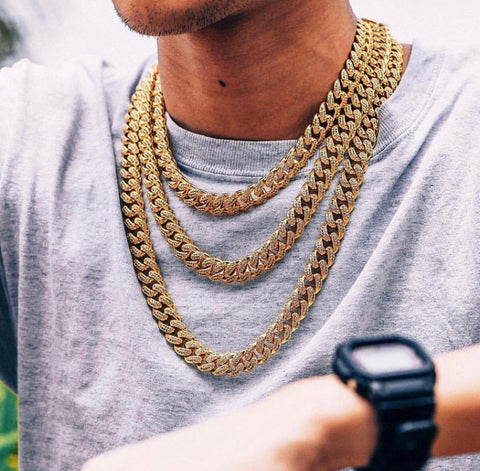 14k Gold/Silver Iced Out Cuban Chain