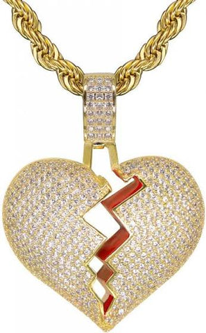 Iced Broken Heart Pendant + Chain