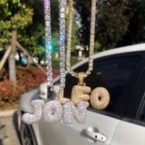 Custom Iced Bubble Letter Necklace