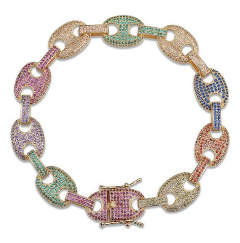 Micro Iced Multi-Color Gucci Link Bracelet