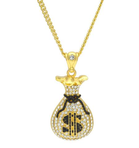 "Iced Out ""Money Bag"" Pendant + Chain"