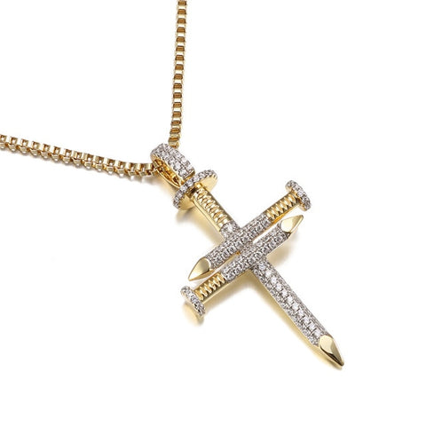 Micro Iced 14k Nail Cross Pendant + Chain