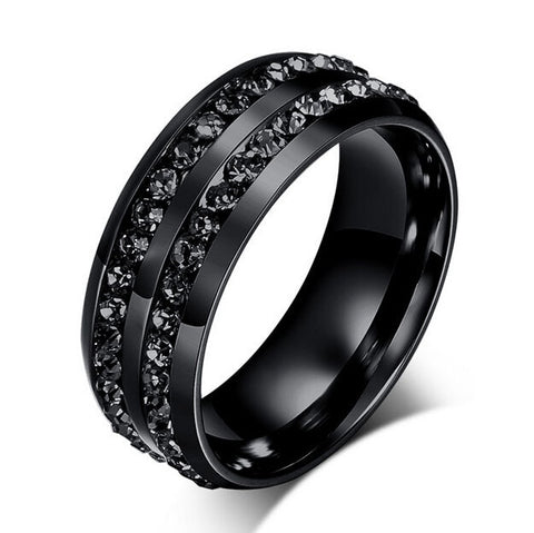 Double Row Micro Iced Diamond Ring (Black)