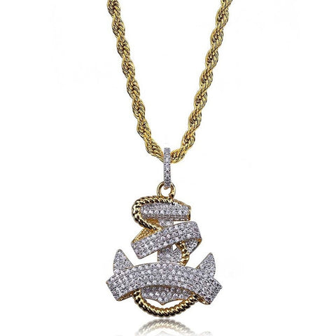 Iced Out Anchor Cross Pendant
