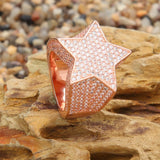 Micro Iced 14k Puff Star Ring