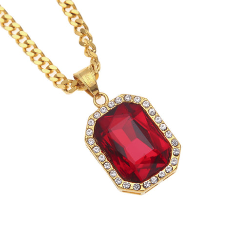 Rectangle Gem Micro Diamond Necklace