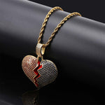 Micro Iced Multi-Color Heart Break Pendant + Chain