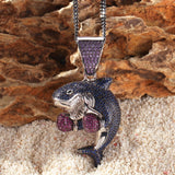 Micro Iced Boxing Shark Pendant + Chain