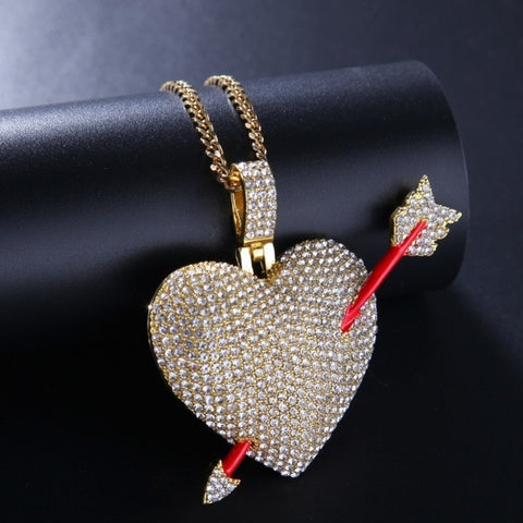 Micro Iced Cupid's Heart Pendant + Chain