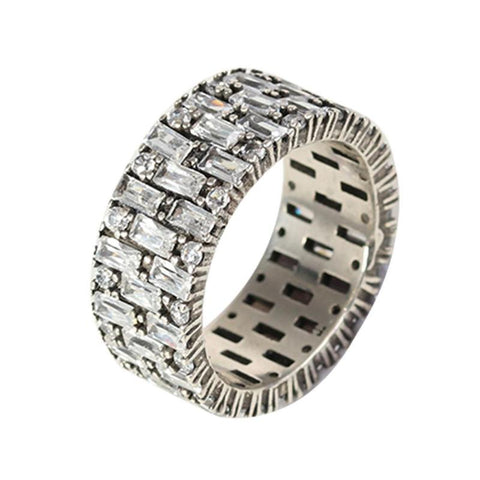 Micro Iced Diamond Baguette Ring