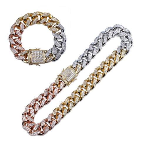 18MM Tri-Color Cuban Link Chain + Bracelet Bundle