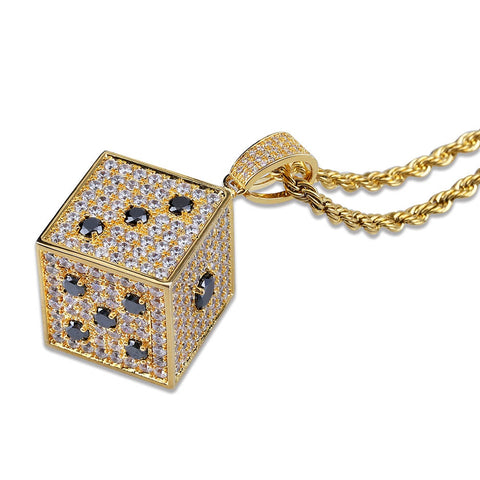 Micro Iced Dice Pendant + Chain