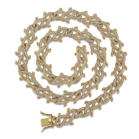 Micro Iced Barbed Wire Cuban Chain