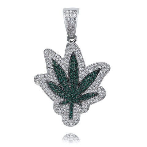 Micro Iced 18k Leaf Pendant + Chain