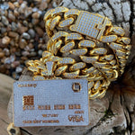 Micro Iced 14k Credit Card Pendant + Chain