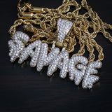 "Iced Out ""SAVAGE"" Pendant + Chain"