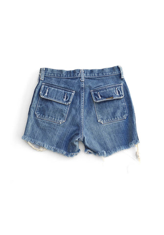 70's denim shorts - dazed blue