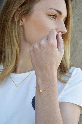 mini heart bracelet - gold