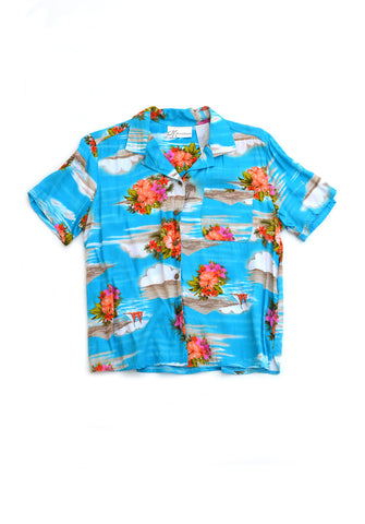 aloha shirt - pool blue - women's medium
