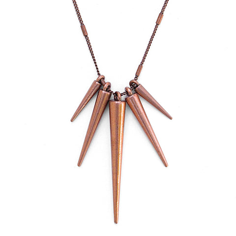 antique copper spike necklace
