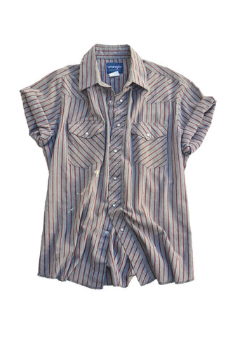 artisan shirt - maroon stripe - men's large