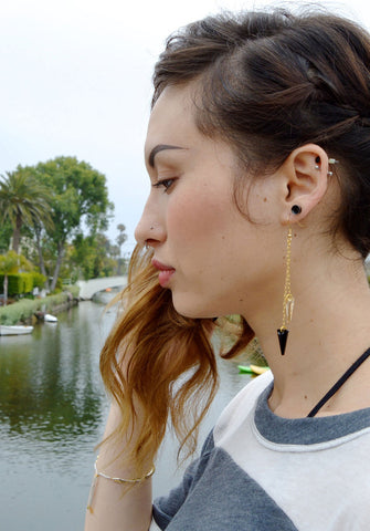 asymmetric spike earrings