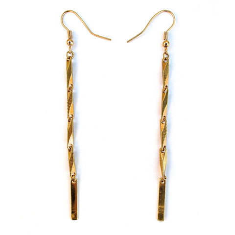 chain & bar earrings - brass