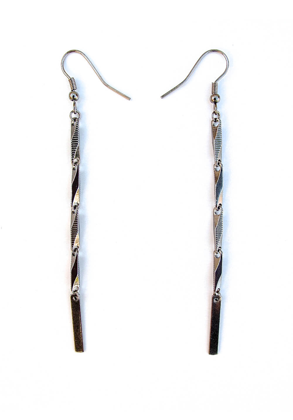 chain & bar earrings - gunmetal
