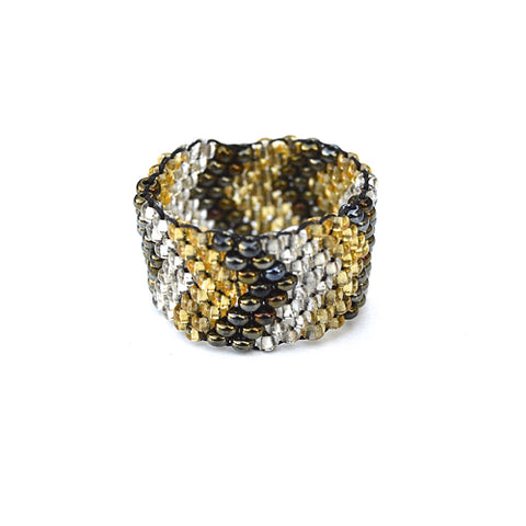 beaded ring - bronze