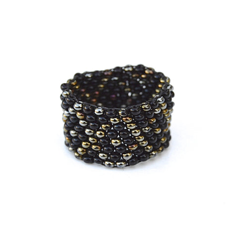 beaded ring - night - size 6