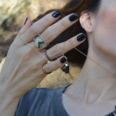 beaded ring - oyster