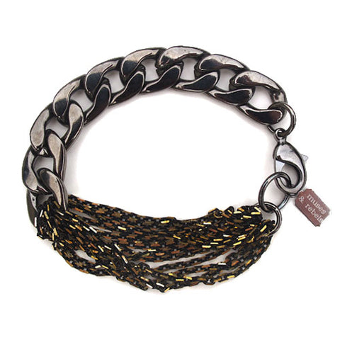 black gold mixed chain bracelet