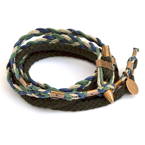 braid & rope wrap bracelet - forest