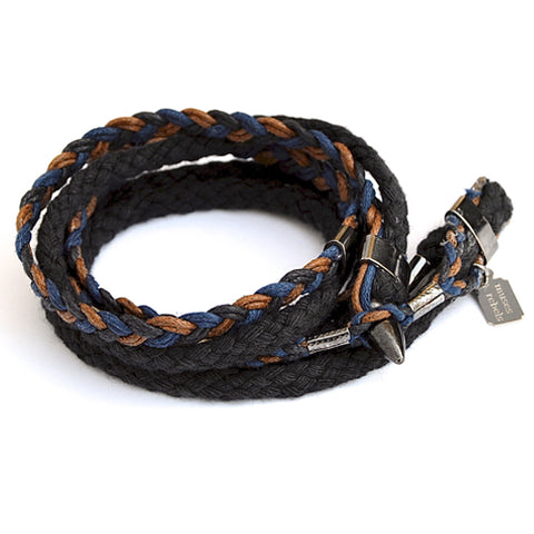 braid & rope wrap bracelet - rustic