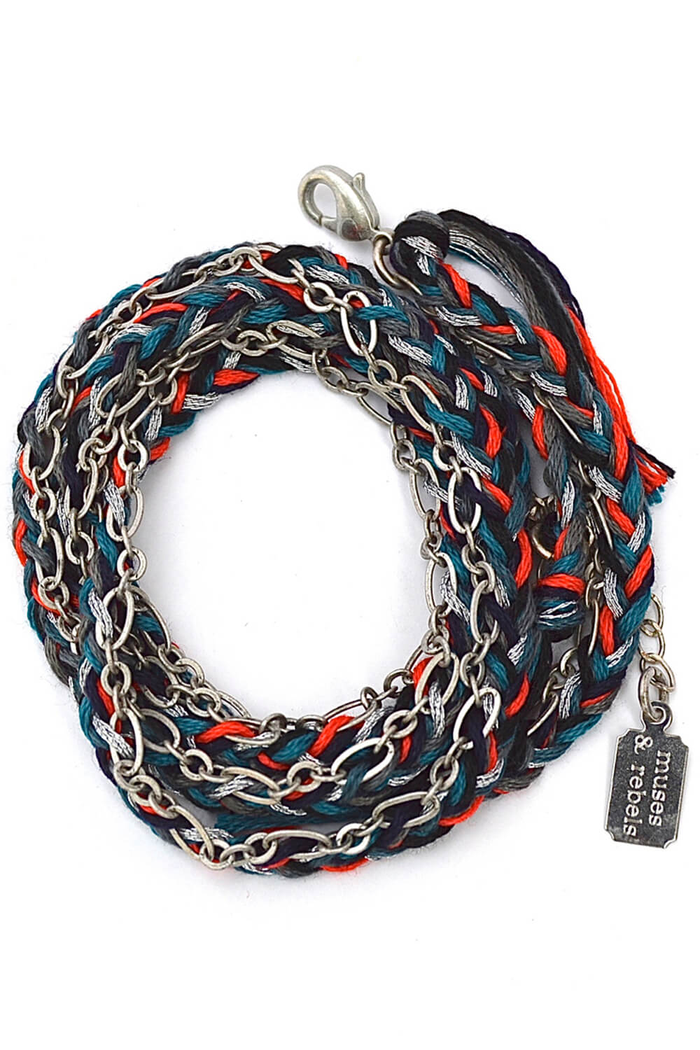 braided wrap bracelet - antique silver fox