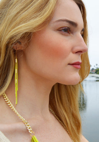 chain earrings - neon yellow