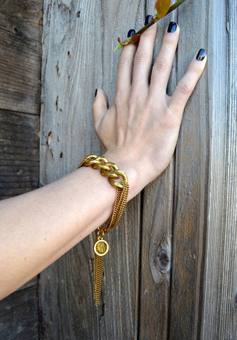 chain tassel bracelet - black gold