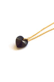crystal heart necklace - gold jet black