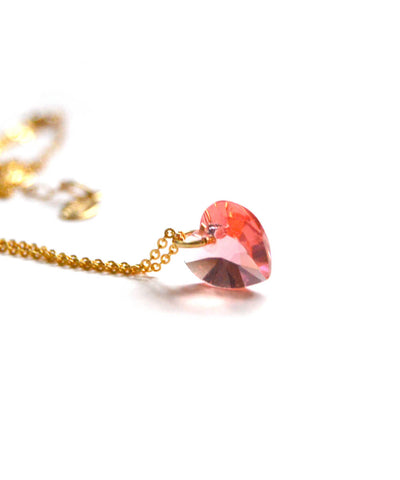 crystal heart necklace - gold rose peach