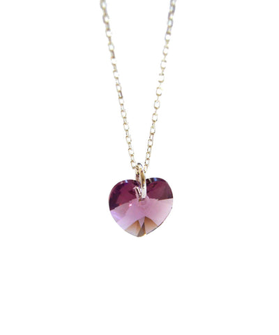 crystal heart necklace - silver iris